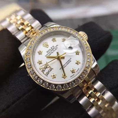 【SY一比一超A高仿手表】劳力士女装日志型系列白色镶钻表盘女士腕表价格报价