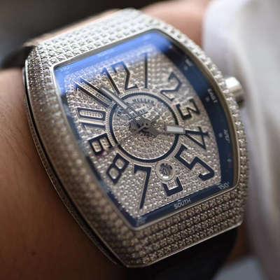【FM一比一超A高仿手表】法兰克穆勒VANGUARD系列Vanguard Lady 白金钻石腕錶腕表价格报价