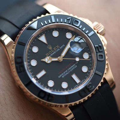 【独家视频测评NOOB厂1:1高仿手表】劳力士游艇名仕型系列116655-Oysterflex bracelet金壳腕表