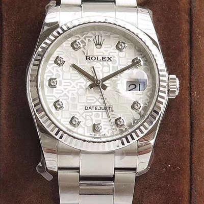 【DJ一比一超A高仿手表】劳力士日志型系列116238 钻石时标 花纹表盘女士腕表价格报价