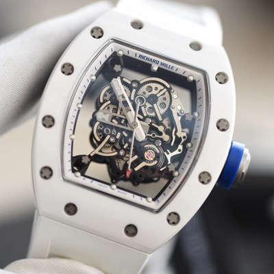 【KV一比一超A高仿手表】理查德.米勒RICHARD MILLE男士系列RM 055白陶瓷白色橡胶带新款腕表价格报价
