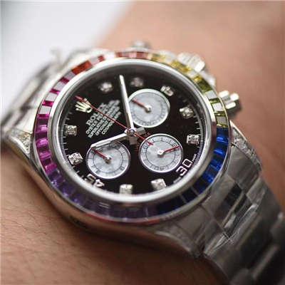 【台湾厂一比一超A高仿手表】劳力士宇宙计型彩虹迪通拿系列116599 RBOW机械腕表价格报价