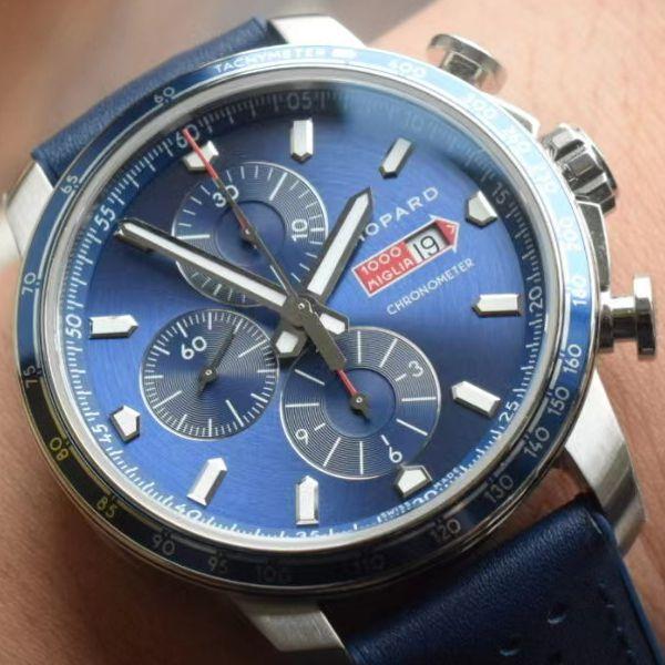 V7厂萧邦顶级复刻手表MILLE MIGLIA GTS AZZURRO 168571-3007蓝色古董赛车主题