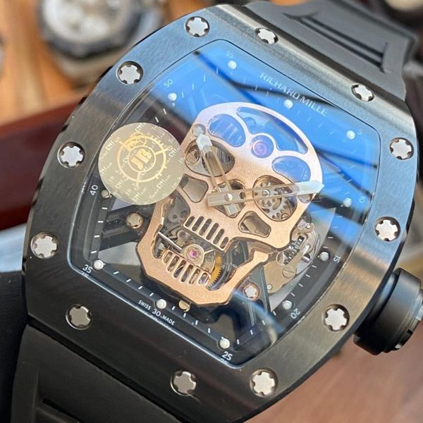 JB厂理查德米勒一比一顶级复刻手表RM52-01真陀飞轮RICHARD MILLE骷髅头价格报价
