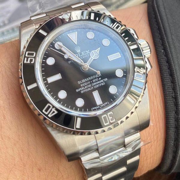 AR厂劳力士潜航者型1比1复刻手表无日历无历黑水鬼114060-97200 黑盘腕表价格报价