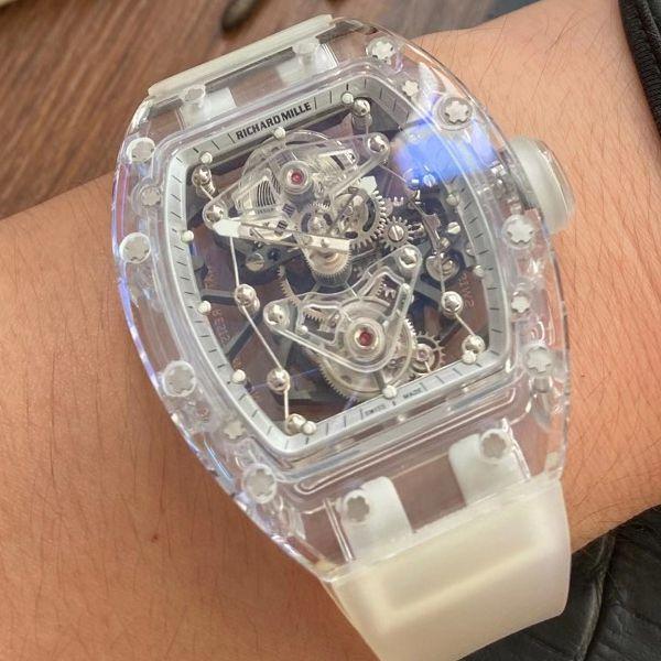 【视频评测】EUR厂理查德米勒陀飞轮RM056,RM 56-02雪琉璃全透明超A复刻手表价格报价
