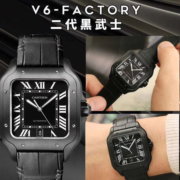 V6厂卡地亚山度士WSSA0039二代黑武士顶级高仿手表